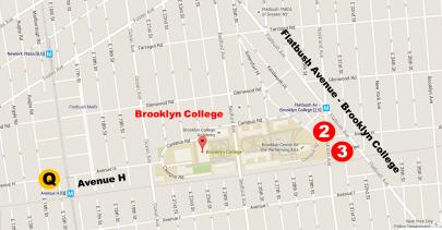 Map of Brooklyn around Brooklyn College
