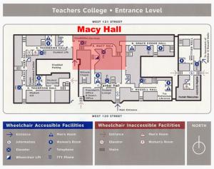 Map of Macy Hall Teachers College