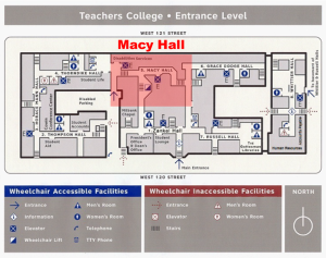 map Macy Hall Teachers College